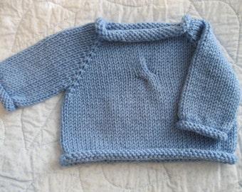 Hand Knit Baby Sweater.........newborn pullover