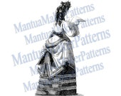 "Victorian Dress Engraving, 11"" tall, Instant Digital Download, JPG & PNG, 1871 #15"