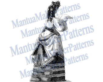 "Victorian Dress Engraving, 11"" tall, Instant Digital Download, JPG & PNG, 1871 #15"