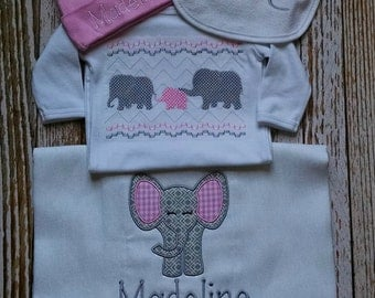Faux Smock Pink and Gray Elephant Family Infant Gown, Monogram Bib, Burp Cloth and Cap Gift Set