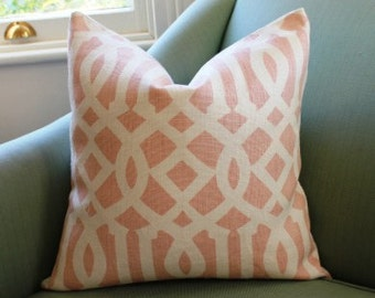 Schumacher Imperial Trellis Blush Pillow Cover