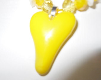 Yellow Heart Fused Glass beaded Necklace, Pendant and matching Earrings