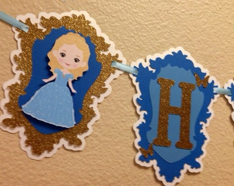 Cinderella inspired birthday banner, cinderella live action, princess banner