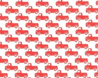 Michael Miller fabric for quilt or craft Tiny Trucks in Paprika half yard