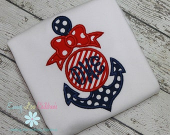 Anchor Shirt with Monogram - Anchor Shirt - Nautical Theme - Anchor Bow Shirt - Memorial Day or July 4th