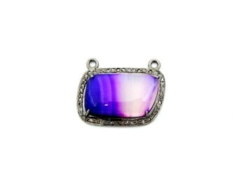 Purple Lace Agate Rectangle Cabochon Double Bail Pendant Connector in a Oxidized Sterling Silver with Pave DIAMOND Bezel-- (EX21-07)