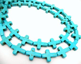 Sideways Turquoise Howlite Cross Beads - 1 STRAND (S31B11-01)
