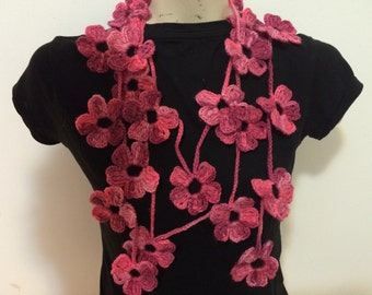 Pink Rosa Tones Flower Scarf, Lariat, Necklace