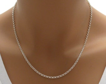 """925 sterling silver 18"""" 2mm Rolo chain necklace"""