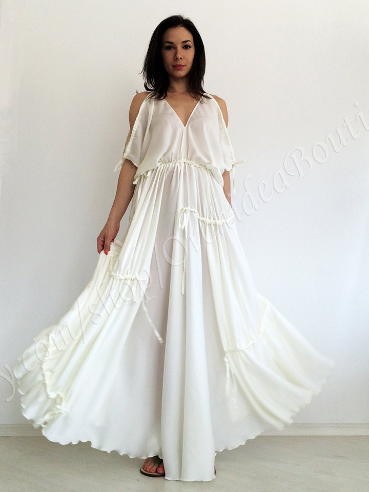 Beach wedding dress white maxi dress kaftan dress loose for White kaftan wedding dress