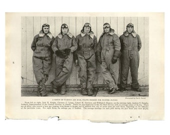 Vintage Print of Air Pilots, photo