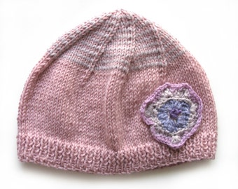 Girls Retro HANDMADE Pink Knitted Wool Beanie Hat & Flower . A Great Gift Idea . Size - Age: 5 6 7 8 9 . OOAK . Made in Australia