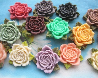 Large--14pc 45mm assorted resin flower cabochon/cameo charms--rose flower with green leaves