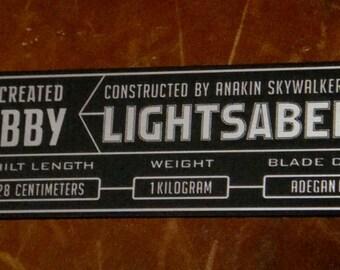 Custom ANAKIN SKYWALKER LIGHTSABER Specifications Data Plate Star Wars Jedi