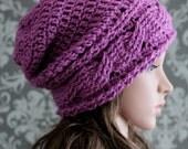Crochet PATTERN - Slouchy Hat Crochet Pattern - Crochet Patterns for Women - Crochet Cable Hat Pattern - 4 Sizes Baby to Adult - PDF 415