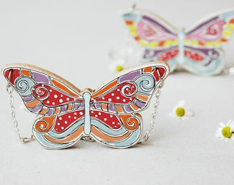 Colorful butterfly necklace,eclectic bohemian necklace,colorful jewellry, animal necklace,statement necklace