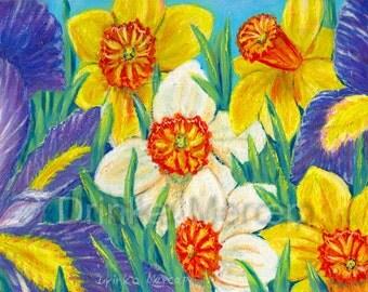 "Daffodils Irises Floral Painting Original Oil Canvas 8x12"" Botanical Garden Bouquet Landscape Nature Realistic Wall Art Home Decor Artwork"