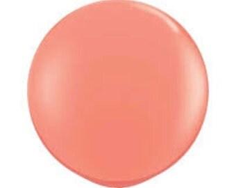 36 inch Round Coral Balloon Large Balloon / Photo Props/  Weddings Birthdays Gender Reveal / Geronimo Balloonsl