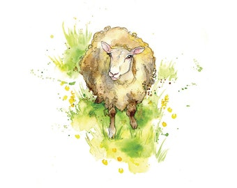 Giclee Fine Art Print: Ewe Sheep Watercolour Painting