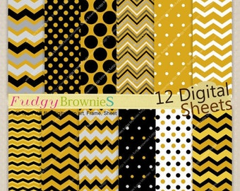 "ON SALE ,Digital paper background 7.5x11"" , printable paper , No.230 printable background, polkadots ,gold black, chevron , Instant Down"