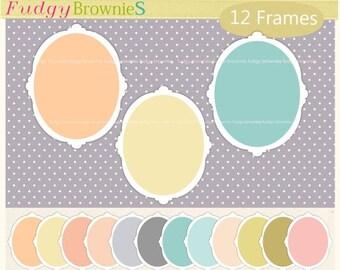 ON SALE Oval Frame clip art, soft colour frames,white border frames,oval labels,frame clip art,scrapbooking frames, A-122 , Instant download
