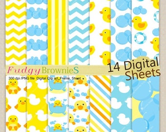ON SALE spring digital paper,. rubber duck Digital Paper,yellow duck, baby shower,invite cards making,digital scrapbooking,No.212/2