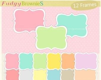 ON SALE clip art frame, Bracket Frames clip art,Digital frame clip art,PNG frame,pastel frames,scrapbooking frame, A-130,Instant download
