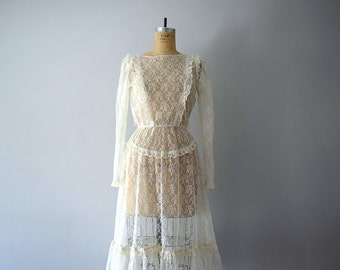 Sheer lace dress . vintage 70s 80s ivory lace dress