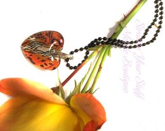 Tiger Print Heart Pendant