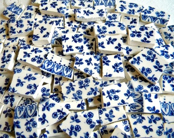 Mosaic China Tiles - Lovely English BLUE FLOWERS - Recycled Plates - 50 Tiles
