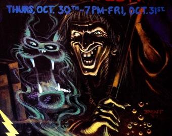 Vintage 1990's Blues Traveler & Jonny Lang Halloween 1997 Concert Show Poster