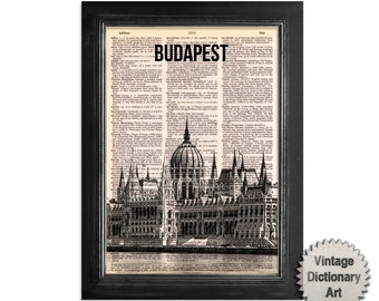 Budapest Parliament Hungary Skyline - Cityscape printed on Recycled Vintage Dictionary Paper - 8x10.5 Dictionary Art Print
