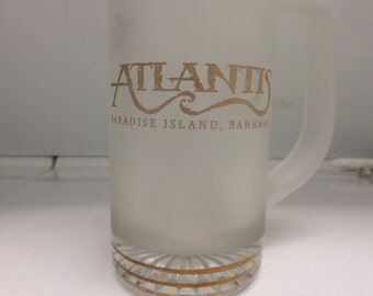 "Frosted Satin Glass Stein Mug  Bahamas Atlantis Paradise Island Barware Man Cave Serving 5 1/2"" tall X 5 1/2"" wide"