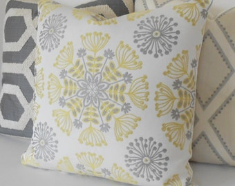 Yellow and gray floral medallion decorative throw pillow cover