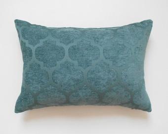 Chenille velvet teal quatrefoil geometric decorative pillow cover
