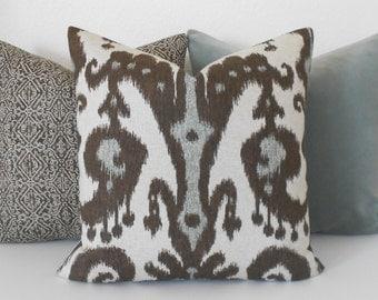 Gray, brown and tan ikat decorative pillow cover