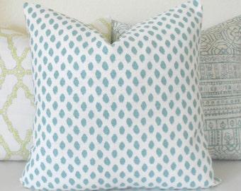 Both sides, aqua blue dots decorative pillow cover, mineral blue spots pillow