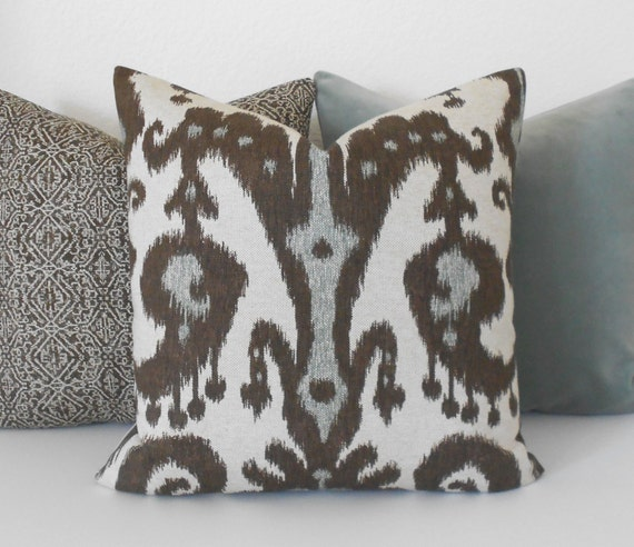 gray brown and tan ikat decorative pillow cover. Black Bedroom Furniture Sets. Home Design Ideas