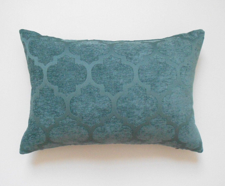 Quatrefoil Decorative Pillow : Chenille velvet teal quatrefoil geometric decorative pillow