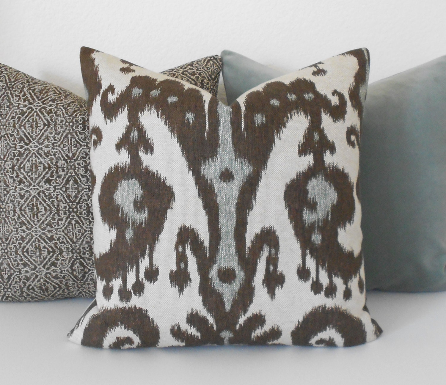 Gray brown and tan ikat decorative pillow cover for Brown and gray throw pillows