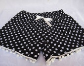 Handmade Womens  COTTON SHORTS,black&white shorts