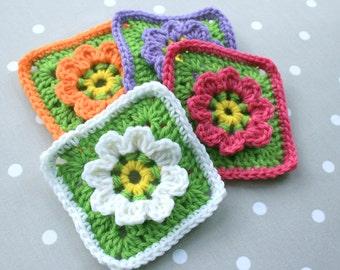 Crochet Pattern - Floral Granny Square - PDF