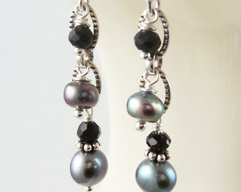 Gray Pearl Earrings Beaded Gemstone Dangle Black Spinel Sterling Silver Oxidized Charcoal Grey Bridesmaid Wedding Jewelry Delicate Drop