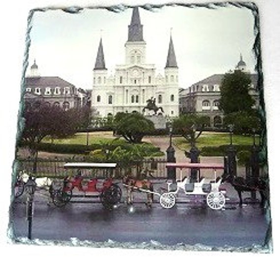 St. Louis Cathedral On Slate Cathedral And Horse Drawn Buggy