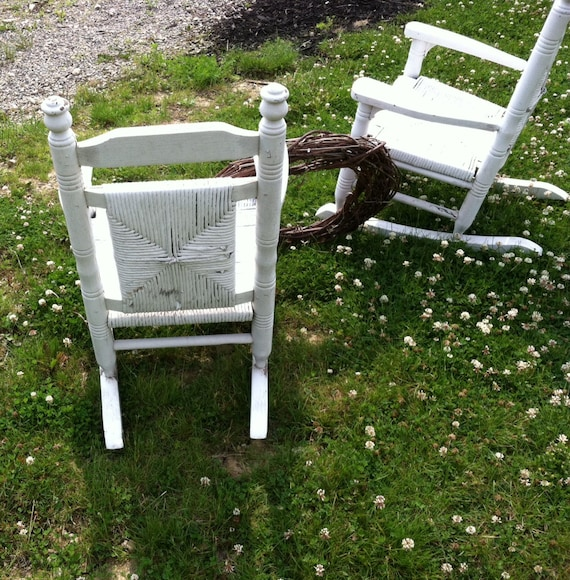 Antique White Wooden Childs Rocking Chair Set Antique Sturdy Chippy