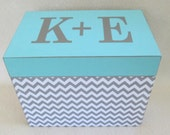 4X6 or 5 X 7 Recipe Box, Gray Chevron and Aqua Wooden Recipe Box - Keepsake Box -  Personalized -Shower Gift