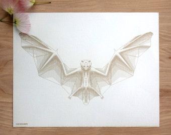 BATTY | Geometric Animal Print, Laser Etched Art Print