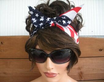 American Flag Headband July 4th Headband Summer Fashion Accessories Women Headscarf Dolly Bow Headband Summer Headband