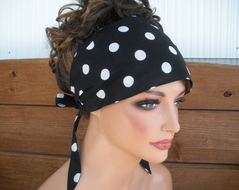 Womens Headband Fabric Headband Fashion Accessories Women Headscarf Yoga Headband Bandana in Black with white polka dots