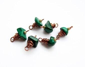 6 PCs Tiny Malachite Charms, Handmade Copper Wire Wrapped Semi Precious Gemstone Dangle Charms, Jewelry Supplies, Destash